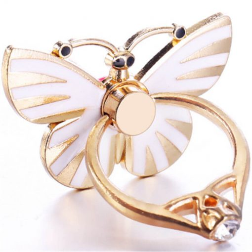 butterfly white mobile ring